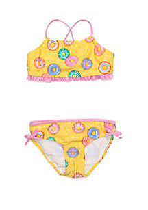Crown & Ivy™ Girls 7-16 Yellow Donut 2-Piece Swim Set