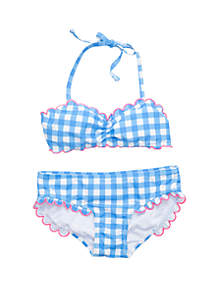 Crown & Ivy™ Girls 7-16 Blue Gingham Scallop Trim 2 Piece Swimsuit