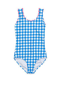Crown & Ivy™ Girls 7-16 Blue Gingham Scallop Trim One Piece Swimsuit
