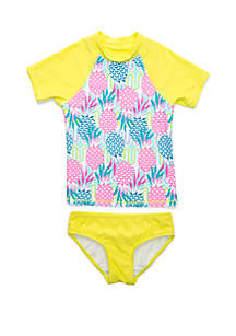 Crown & Ivy™ Girls 7-16 2 Piece Neon Pineapple Rash Guard