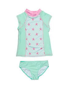 Crown & Ivy™ Girls 7-16 2-Piece Mint Starfish Rash Guard Set