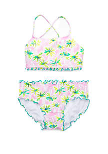 Crown & Ivy™ Girls 7-16 Pink Palm 2 Piece Swimsuit
