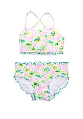 dd9dac8c8d88b Crown & Ivy™ Girls 7-16 Pink Palm 2 Piece Swimsuit ...