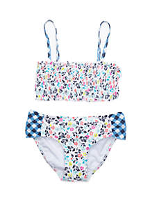 Crown & Ivy™ Girls 7-16 Floral Gingham Twin Print Pucker 2 Piece Swimsuit