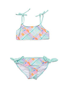 Crown & Ivy™ Girls 7-16 Aqua Plaid 2-Piece Swim Set