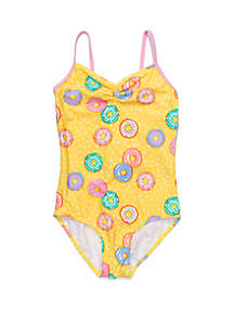 Crown & Ivy™ Girls 7-16 Yellow Donut One Piece Swimsuit