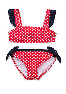 Crown & Ivy™ Girls 7-16 Polka Dot Ruffle Strap 2 Piece Swimsuit