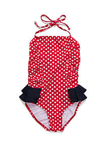 Crown & Ivy™ Girls 7-16 Polka Dot Ruffle One Piece Swimsuit