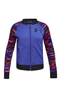 Girls 7-16 Graphic Sleeve Zip-Up Track Jacket