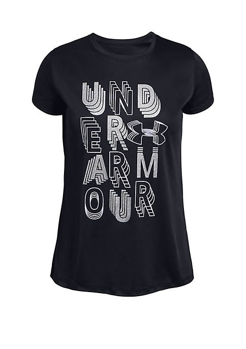 Under Armour® Girls 7-16 Linear Wordmark Tee