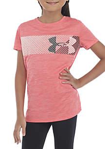 Under Armour® Girls 7-16 Hybrid Big Logo Short Sleeve Tee
