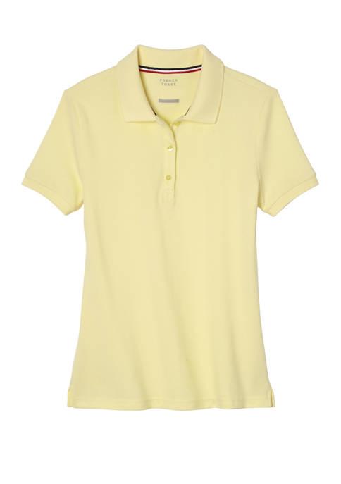 Girls Short Sleeve Stretch Pique Polo Shirt