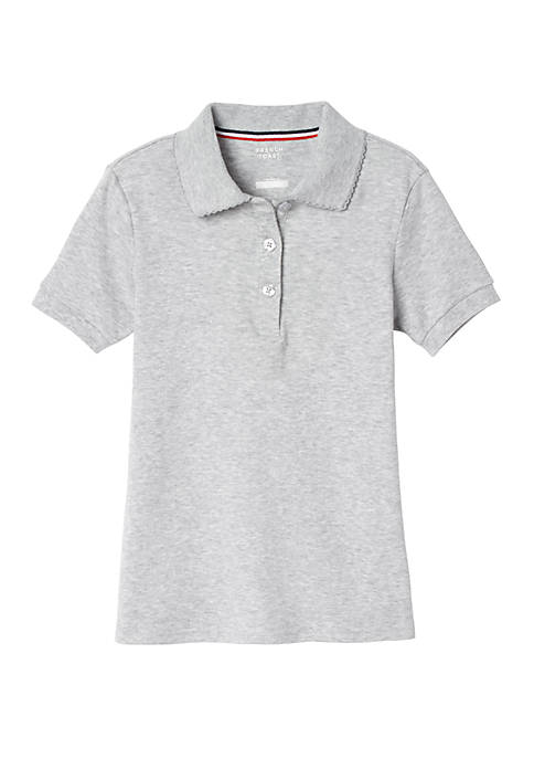 Girls Short Sleeve Picot Collar Interlock Polo Shirt