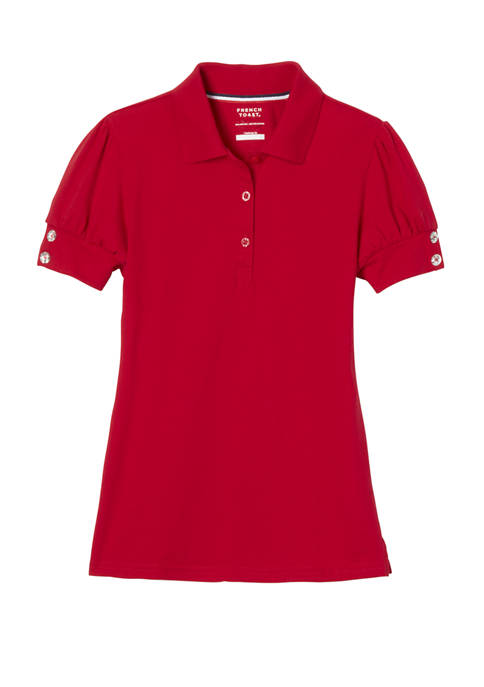 Girls Short Puff Sleeve Polo Shirt With Rhinestone