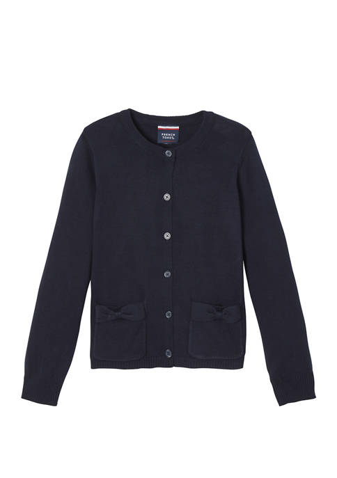 French Toast Girls Bow Pocket Cardigan Sweater