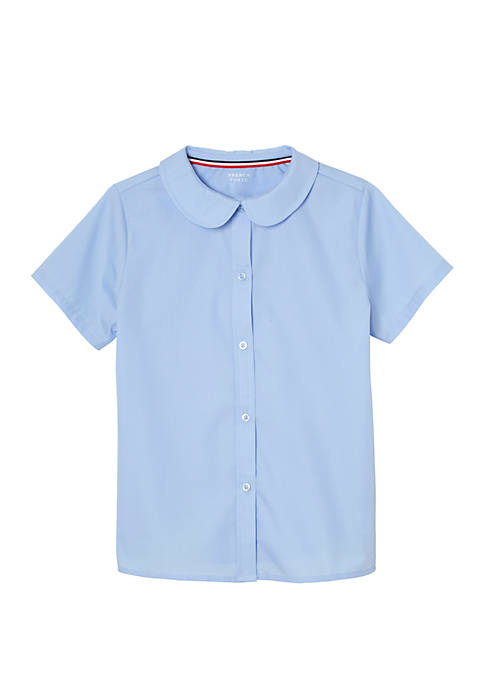 French Toast Girls Short Sleeve Pocket Woven Shirt