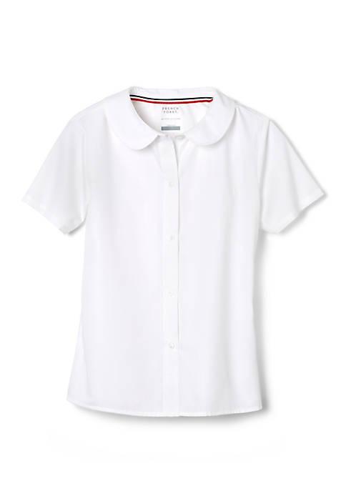 Girls Short Sleeve Modern Peter Pan Collar Blouse