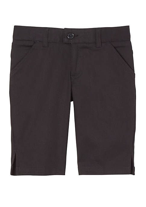 Girls 7-20 Adjustable Waist Stretch Twill Bermuda Shorts