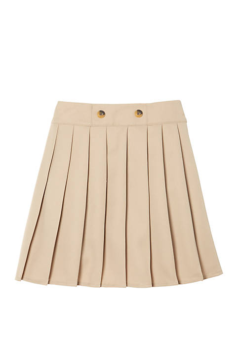 Girls 7-20 Adjustable Waist Front Button Pleated Scooter