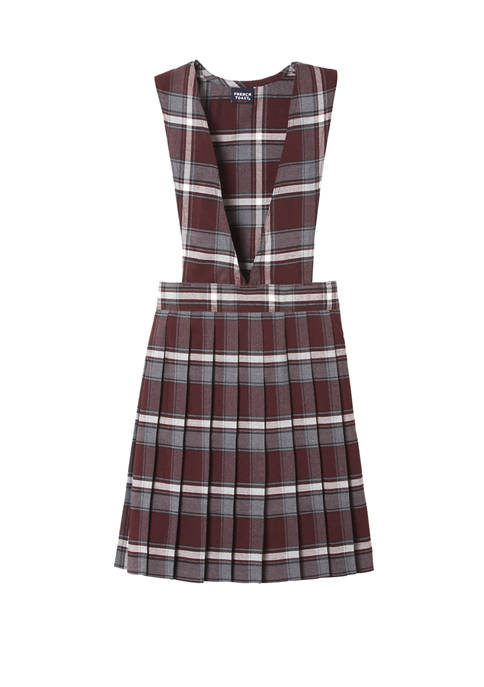 French Toast Girls Plaid V-Neck Pleated Jumper