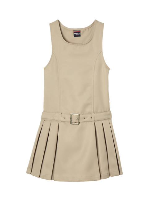 French Toast Girls Belted Side Pleated Jumper