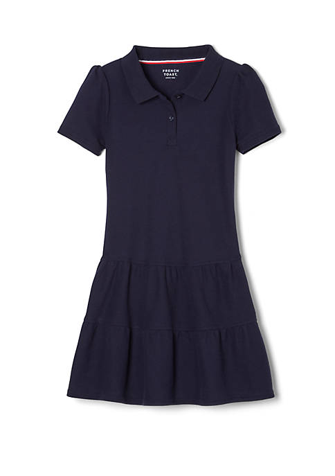 French Toast Girls Short Sleeve Ruffle Piqué Polo