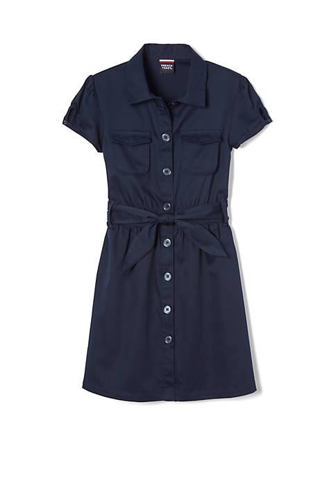 French Toast Girls Short Sleeve Safari Dress