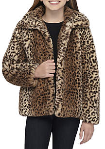 Girls 7-16 Cozy Leopard Faux Fur Coat