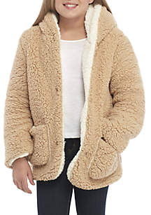 Girls 7-16 Teddy Two Tone Jacket
