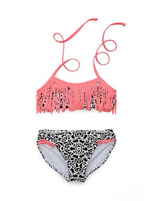 9f6dc42fa1 Jessica Simpson. Jessica Simpson 2-Piece Animal Print Fringe Bikini Set  Girls ...