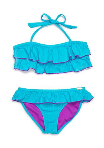 52dfbbef985 Jessica Simpson 2-Piece Seersucker Ruffle Bikini Girls 7-16