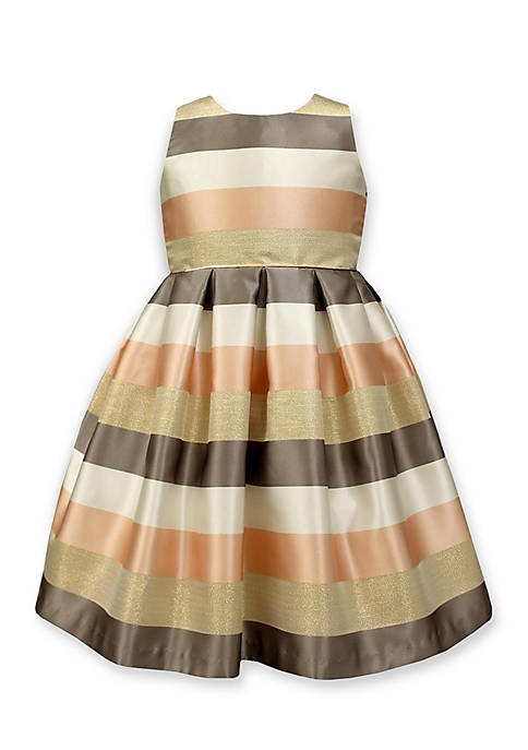 Jayne Copeland Multi Stripe Dress with Pleated Skirt