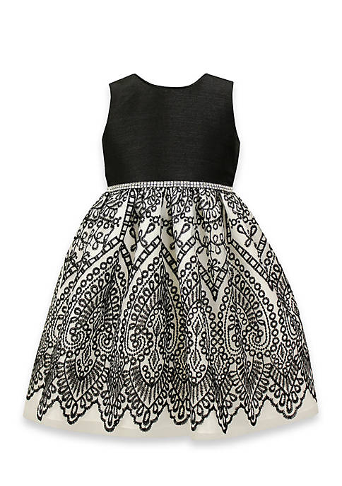 Jayne Copeland Black and White Embroidered Dress