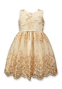 Embroidered Sequin Dress Girls 4-6x