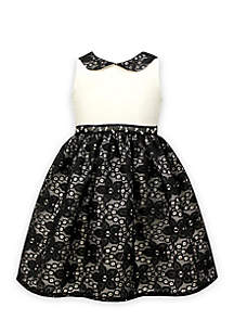 Black and White Dress with Peter Pan Collar Girls 4-6x