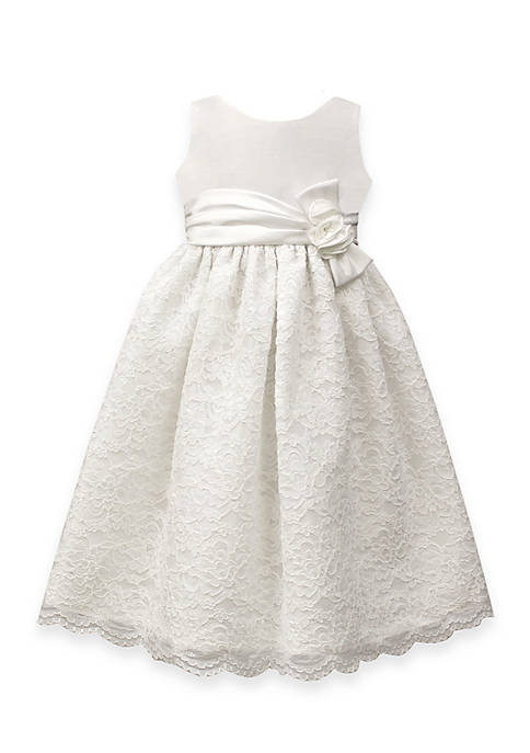 Jayne Copeland Satin Dress with Lace Embroidered Skirt