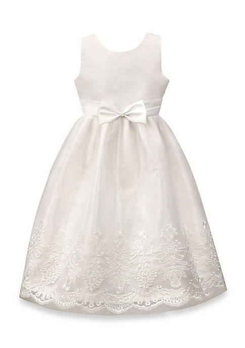 Jayne Copeland White Dress with Embroidered Border and