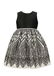 Jayne Copeland Black and White Embroidered Dress Girls 7-16
