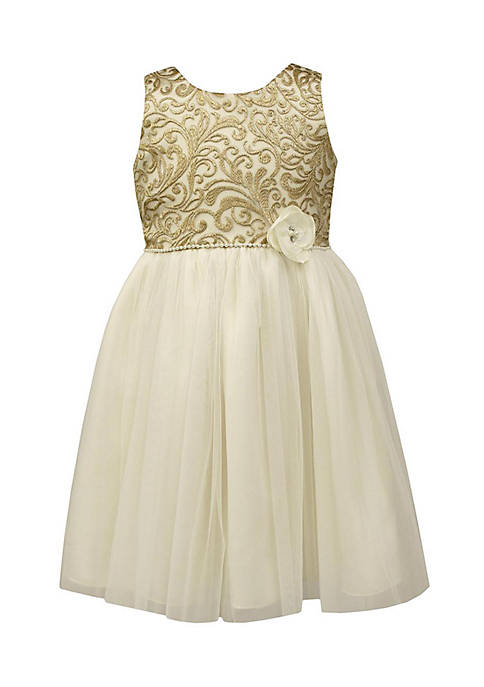 Jayne Copeland Gold Embroidered Lace Dress Girls 7-16
