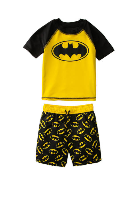 Batman™ Toddler Boys 2 Piece Batman Rashguard Swim