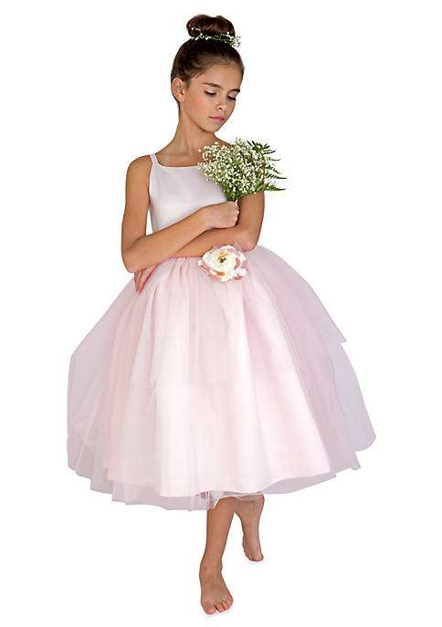 Us Angels Flower Girl Satin And Tulle Ballerina Dress With