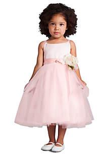 Flower Girl Satin And Tulle Ballerina Dress With Flower- Girls 4-6x