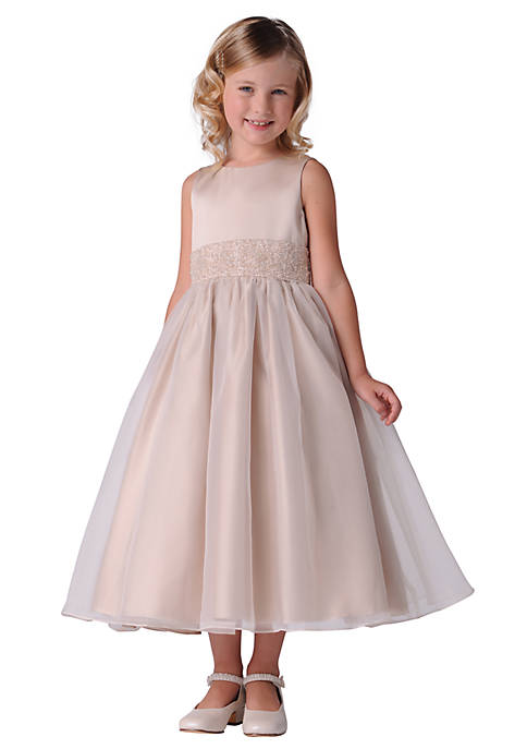 Us Angels Flower Girl Beaded Sash Organza Dress-