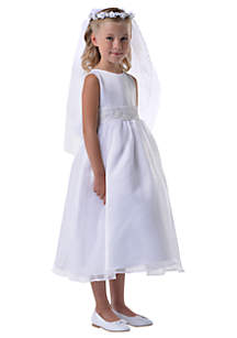 Satin And Organza Sleeveless Communion Dress With Beaded Cummerbund and Organza Tie Back Bow- Girls 7-16
