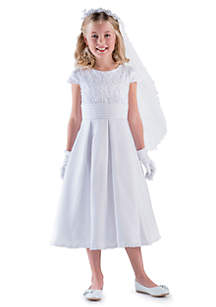 Us Angels Lace And Satin Cap Sleeve Lace Bodice Communion Dress With Box Pleat- Girls 7-16