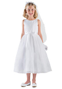 Embroidered Organza And Satin Sleeveless Communion Dress With Embroidered Lace Bodice And Skirt- Girls 7-16