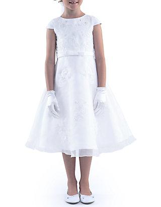 c088d7bbaf Us Angels. Us Angels Cap Sleeve Embroidered Applique Princess Bodice Satin  Dress Girls ...