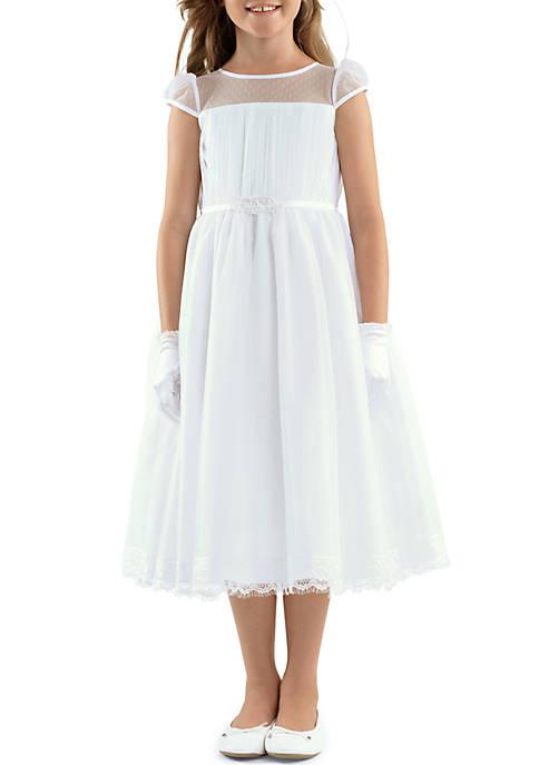 Cap Sleeve Illusion Neck & Scalloped Lace Trim Hem Point D Esprit Dress Girls 4-16