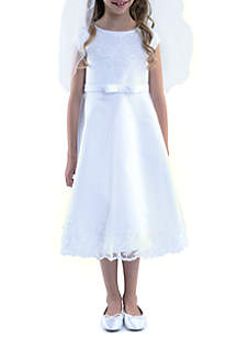 Cap Sleeve Embroidered Applique Detail Satin Dress Girls 4-16