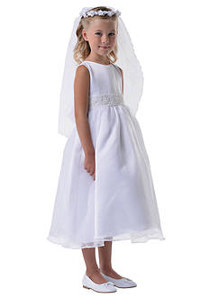Us Angels Satin And Organza Sleeveless Communion Dress With Beaded Cummerbund - Girls Plus